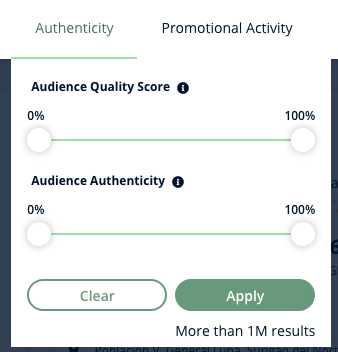 A screenshot of Heepsy's Instagram Authenticity filter, which gives you two sliders to set the audience quality score or the audience authenticity percentage.