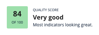 A quality score analysis from Heepsy showing that an influencer has an 84,