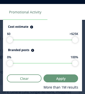 A screenshot of Heepsy's Instagram Promotional Activity filter, which lets you find influencers with two sliders: cost estimate or percentage of branded posts.