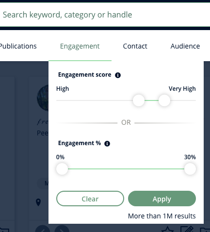 A screenshot of the Engagement filter on Heepsy, which is a slider-style selection.