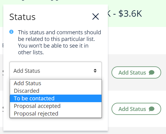 A screenshot showing how to change the status of an influencer on Heepsy.