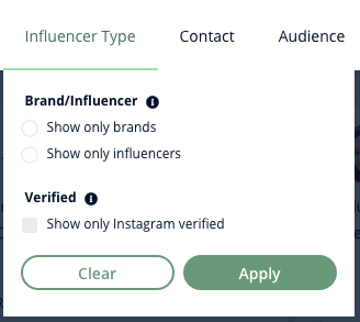 A screenshot of Heepsy's Instagram Influencer Type filter, which lets you show influencers or brands, or show only verified accounts.