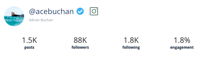 A screenshot of Heepsy showing a verification icon next to an Instagram influencer's name.